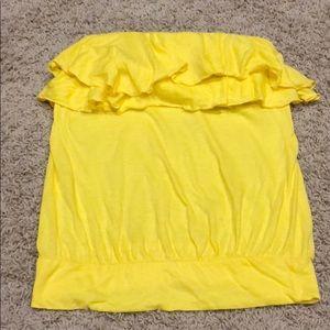 Yellow ruffle tube top